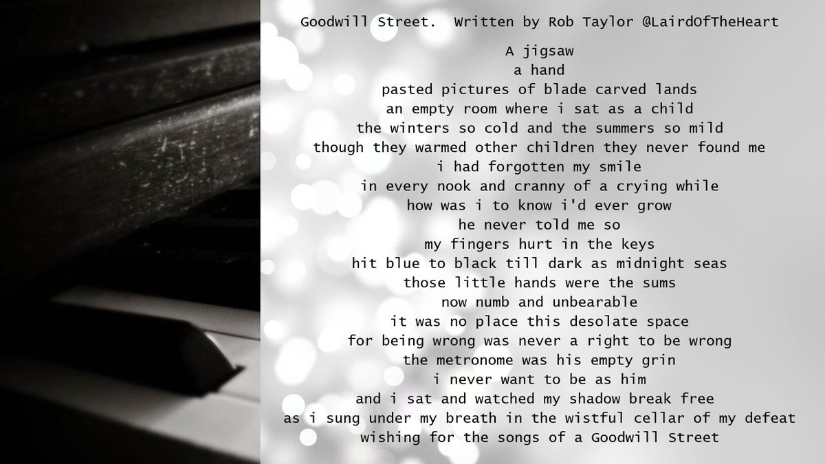 ☆ #ReadMeSpeakMe No.116 ☆ 11th October 2020 ☆   This week we are reading 'Goodwill Street' by Rob Taylor @LairdOfTheHeart    Please include the #ReadMeSpeakMe hashtag in your tweet and announce the poem title and author in your recording. Let's not orphan any works. https://t.co/OjN5XVuXXo