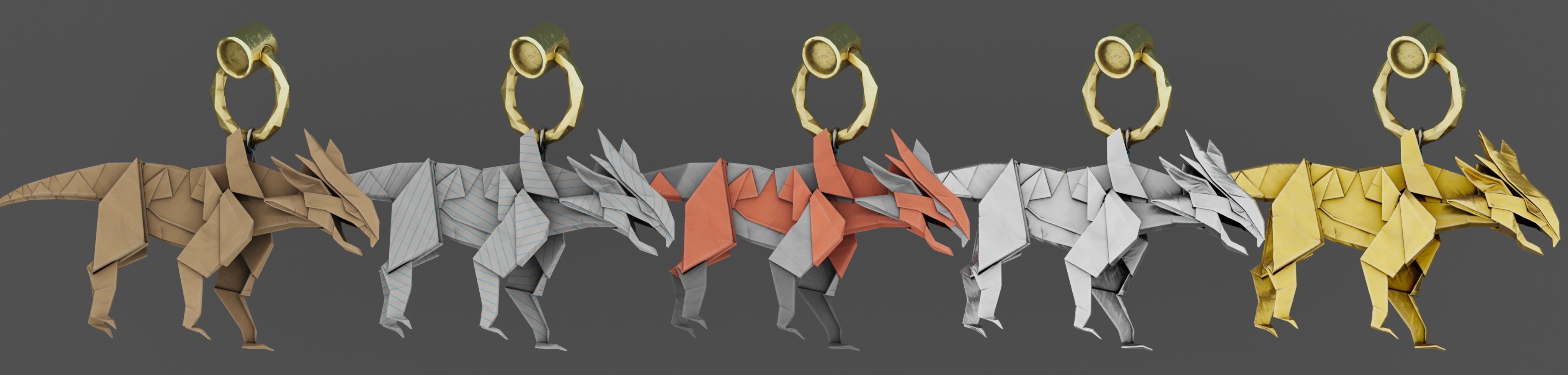 Lineup of all the Leviathan Origami Charms