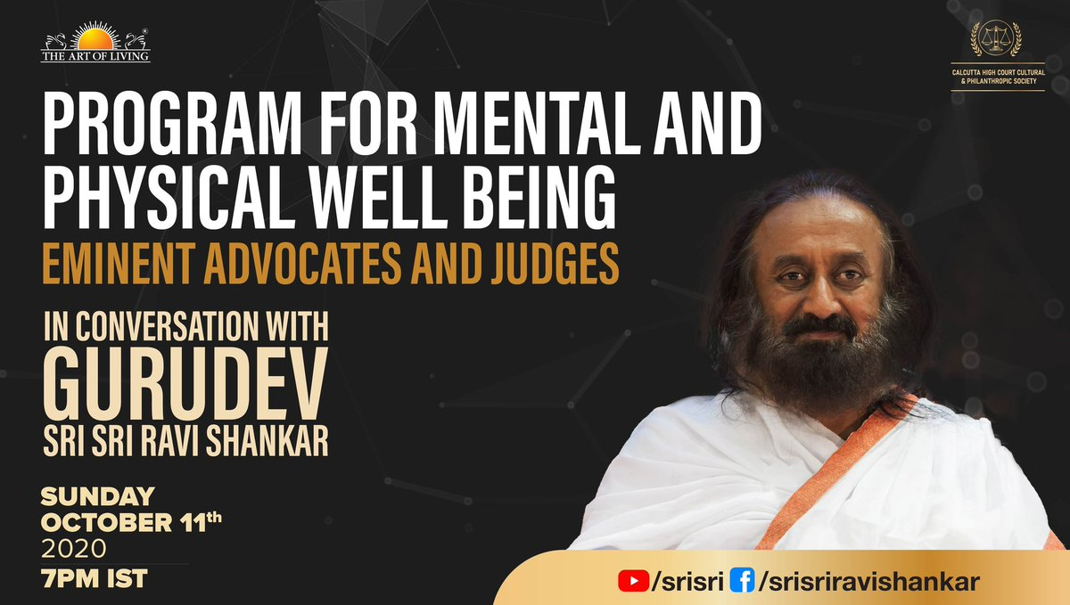 Eminent Advocates and Judges in conversation with Gurudev @SriSri Ravi Shankar.  Join the Live Today at 7.00PM IST  https://t.co/fSLKXJYNUD https://t.co/MeLjBKVBXR