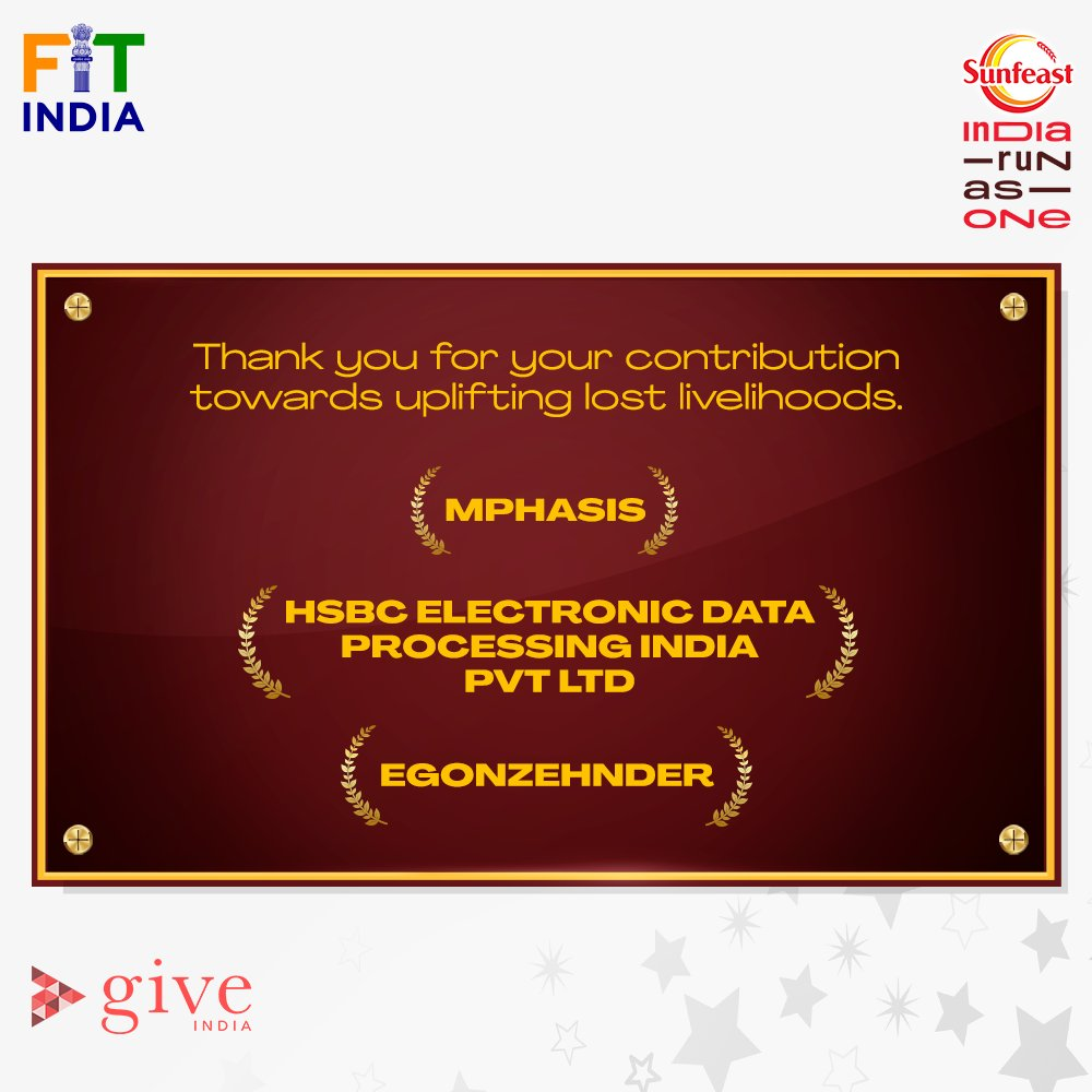 A huge thank you to the corporates who stood together with us and helped us heal millions of lost livelihoods.   @Mphasis, @HSBC, @EgonZehnder, your contribution has brought about a big change. 👏  #SunfeastIndiaRunAsOne #LivelihoodsMatter.