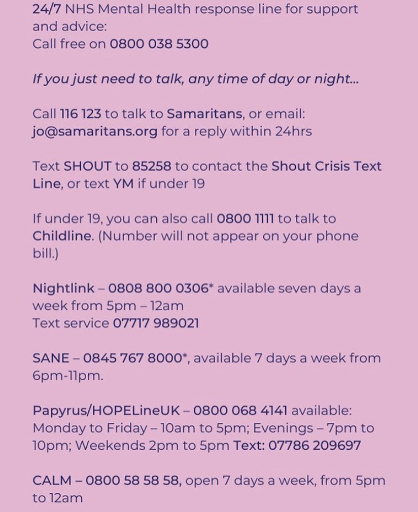 If you're unsure who to turn to, these numbers are here to listen #MentalHealthAwareness