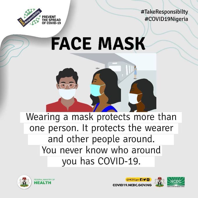Wearing a face mask reduces the risk of spreading #COVID19 to those around you unknowingly. Do not put others at risk. #TakeResponsibility to protect them- wear a face mask, observe physical distancing and wash your hands frequently.