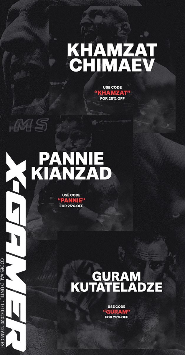 "Don't miss out on 25% off by using ""KHAMZAT""  ""GURAM""  or ""PANNIE"" during check-out!  Valid until 11/10/2020 12:00 CEST  #XGamer #XGamerenergy #UFC @khamzat_chimaev @guram_dze @panniekianzad https://t.co/tnhVrOGQUP"