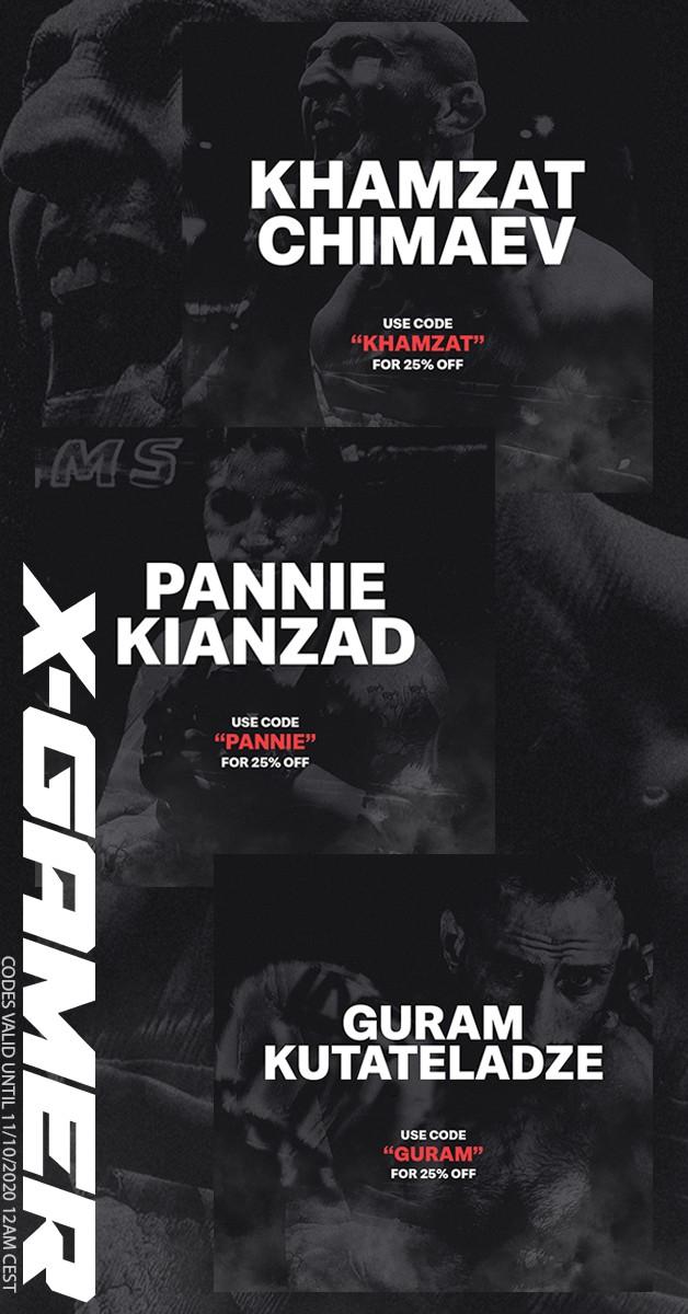 "Don't miss out on 25% off by using ""KHAMZAT""  ""GURAM""  or ""PANNIE"" during check-out!  Valid until 11/10/2020 12:00 CEST  #XGamer #XGamerenergy #UFC @khamzat_chimaev @guram_dze @panniekianzad https://t.co/tnhVrOGQUP"