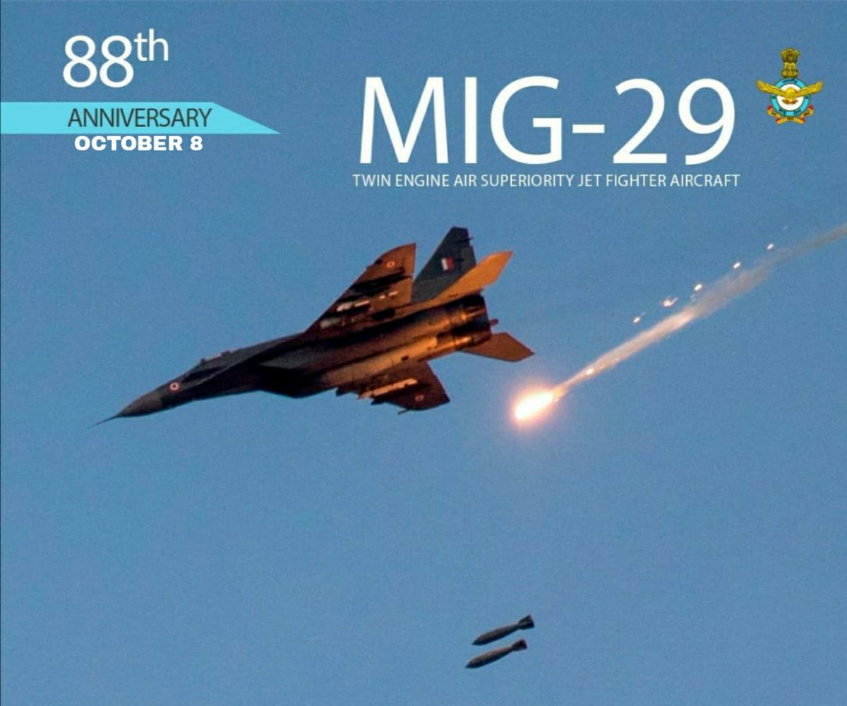 #AFDay2020: MiG-29 Fulcrum is a twin-engine, multirole, air superiority fighter aircraft capable of carrying 30 mm cannon alongwith close combat, medium-range radar-guided missiles and BVR Missiles. #KnowTheIAF #IndianAirForce