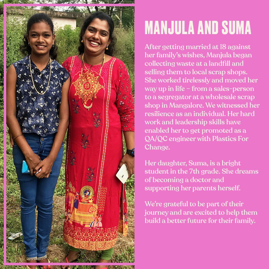Manjula-works tirelessly for a better life for her daughter. Suma-looks up to her mother & aims to better the lives of her parents & her community by becoming a doctor. We believe that when women and girls thrive, the fight for our planet & its people gets stronger. #TBSInd