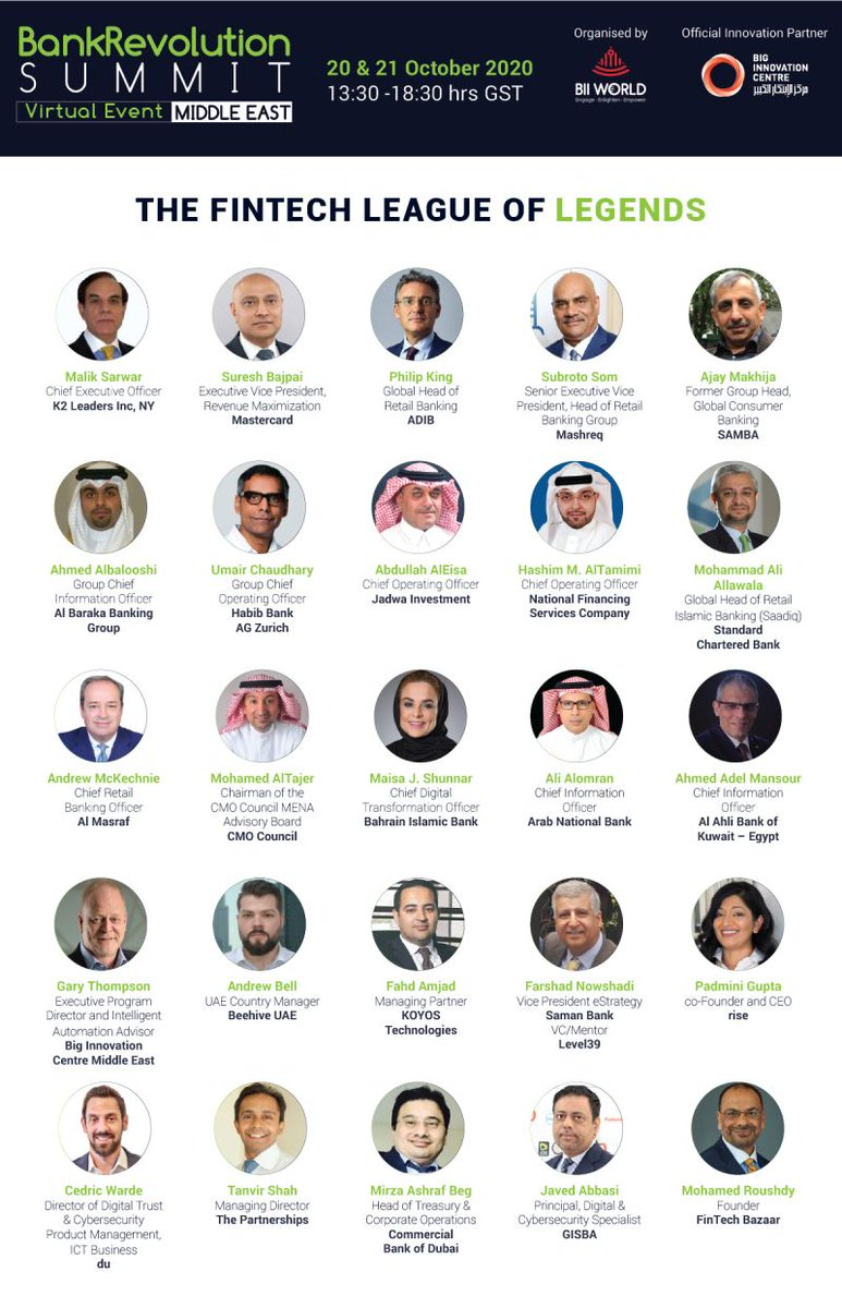 Have you registered yourself to the BankRevolution Summit on Oct 20 - 21, 2020?  Beehive's UAE Country Manager, Andrew Bell, will join a panel of industry experts to discuss the road to recovery for SMEs on day two of the event, 21st Oct at 4:40 pm (GST).  https://t.co/I8iPah2ZBA https://t.co/Nu15ZVCAIo