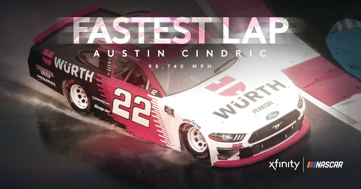 No surprise, the fastest lap around the ROVAL was BEFORE the rain hit. @AustinCindric finishes 2020 with the fastest lap on every #XfinitySeries road course.