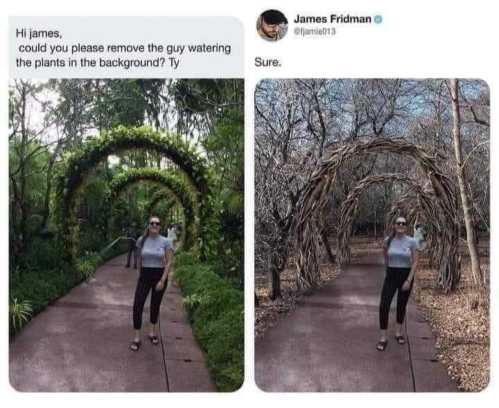 """""""جيمس فريدمان"""" محترف فوتوشوب.. طلبت منه هذه المرأه أن يحذف من الصورة الرجل الذي يروى الزرع  .. فكان رده سريع و عميق. https://t.co/uKtDEOY6pv"""