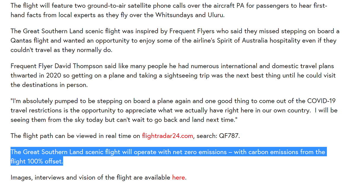 """An extra note -  @Qantas reminds us the flight was """"offset"""". Which nicely illustrates how offsets (which should be reserved for *unavoidable* emissions, if used at all) are used as cover for waste and worsening of emissions  https://www.qantasnewsroom.com.au/media-releases/qantas-sightseeing-flight-to-promote-australias-unique-tourism-wonders/"""