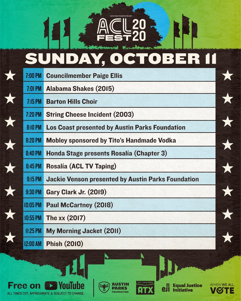 It's the last day of #ACLFest 2020! 😎 Check out the schedule and set your reminder:  👈
