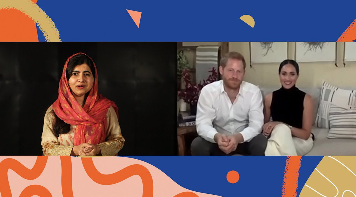 *Today is the day!* In honour of #DayoftheGirl, @Malala and The Duke and Duchess of Sussex, Meghan Markle and Prince Harry discuss what education means to them and the need to keep girls learning during and after COVID-19. Watch now: