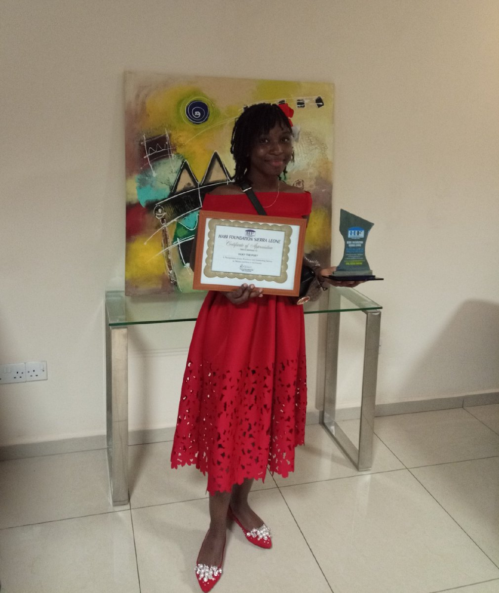 """Today I was awarded for excellence and outstanding, service to women and girls in Sierra Leone by Habi Foundation   I dedicate this award to girls across Africa and beyond """"My voice, our equal future""""  #IDGC2020 https://t.co/yfinX1xUuz"""
