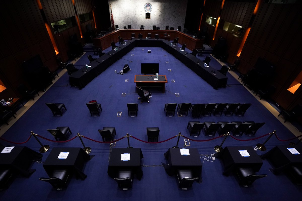 an overhead shot of the setup for the amy coney barrett hearing