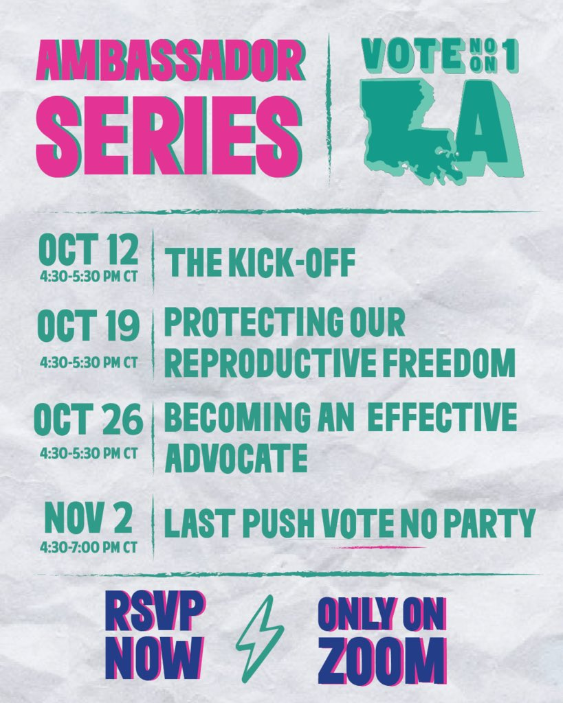 Want to get involved & help defeat Amendment 1?🤔 RVSP now for the Vote NO on 1 Ambassador Series‼️ This interactive training will help you learn how to organize in a reproductive justice framework & take on grassroots actions to spread the word about Amendment 1✨ #defeat1la
