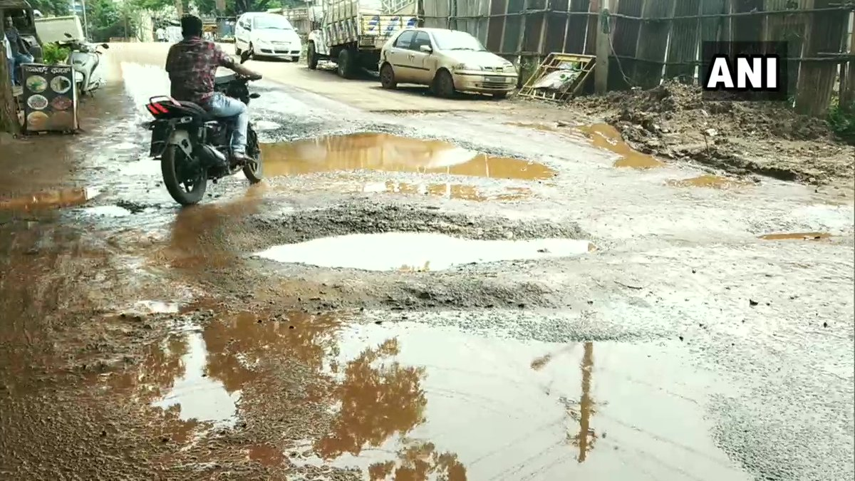 """Karnataka: Potholes seen on the streets in parts of Hubli. Locals say, """"This happens every monsoon. People face a lot of difficulties; they fall off two-wheelers, there are accidents. Our leaders are not finding out a solution for this. The condition of the main roads isn't good"""" https://t.co/e6qShSWoN7"""