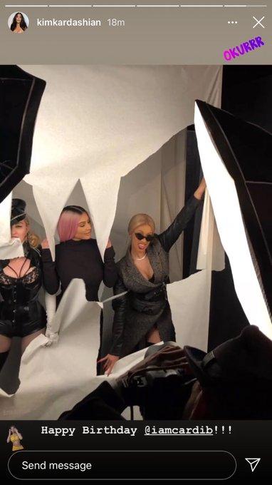 Kim kardashian wishes Cardi a happy birthday via her insta stories .