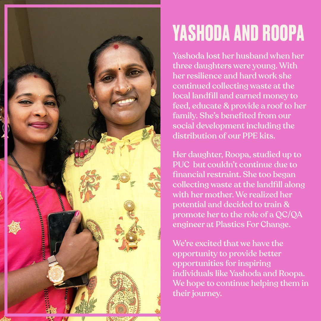 This International Day of the Girl, a story from our partner @plasticsforchange. Yashoda who faced all odds to provide for her family by picking up waste. Roopa with her determination's been promoted to QC/QA engineer. Take a step forward for a better world for girls. #TBSInd