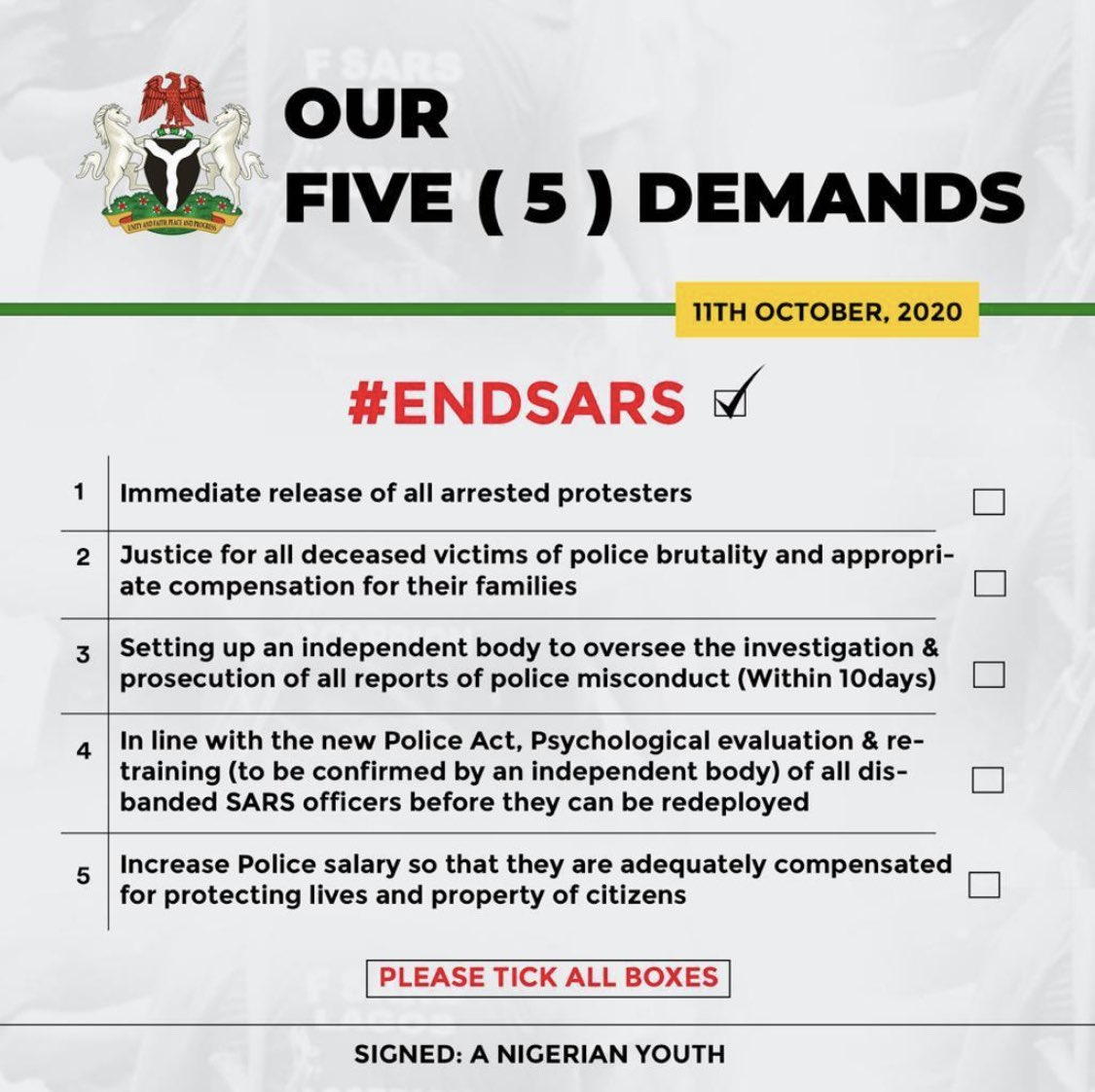 #5for5 : Nigerian Youths give Buhari's Government 5 conditions