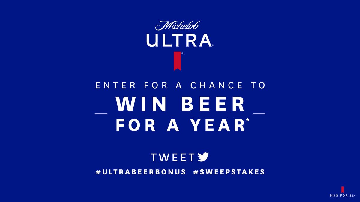 Here's another chance to score free beer for a year if one of the teams scores 95 points or more. Get tweeting now with #ULTRABeerBonus and #Sweepstakes to enter for a chance to win.