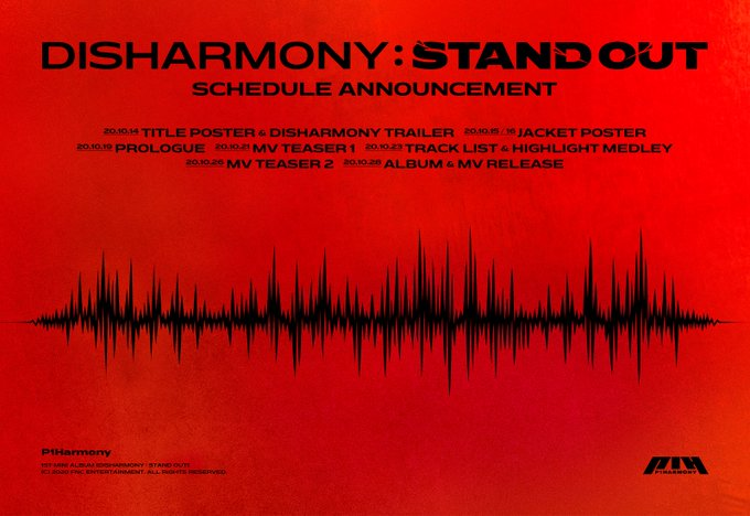 28일(수), P1Harmony(피원하모니) 미니 앨범 1집 'DISHARMONY : STAND OUT (타이틀 곡:SIREN)' 발매 | 인스티즈