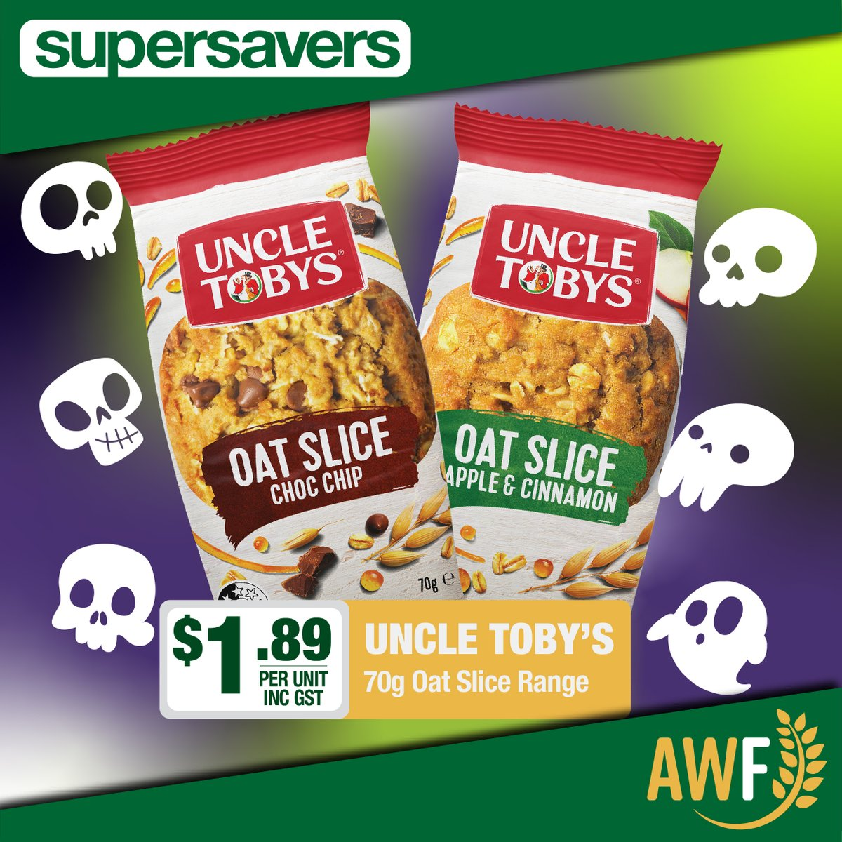 Uncle Toby's Choc Chip & Apple & Cinnamon 70g Oat Slice on special in this months Spooky Savers!  View it online: https://t.co/4JQiBKD4hX ------------ 📞 Call us: (08) 9041 1424 📧 Email: sales@allwaysfoods.com.au #AWF #AllwaysFoods #merredin #supersavers #uncletobys #oatslice https://t.co/omcXnxHrmx