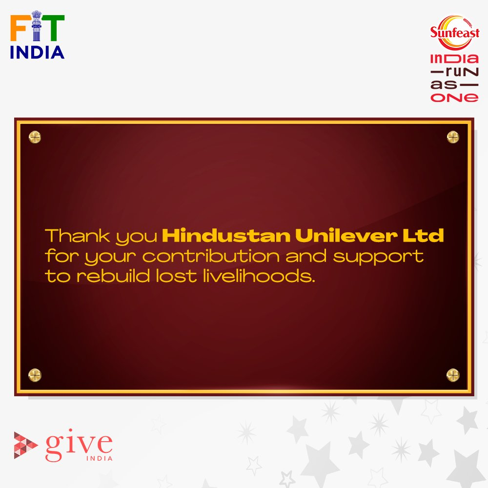 Millions of lives have been touched with your support, @HUL_News. 💓  Thank you for lending your support in uplifting millions of lost livelihoods of the nation.   #SunfeastIndiaRunAsOne #LivelihoodsMatter.