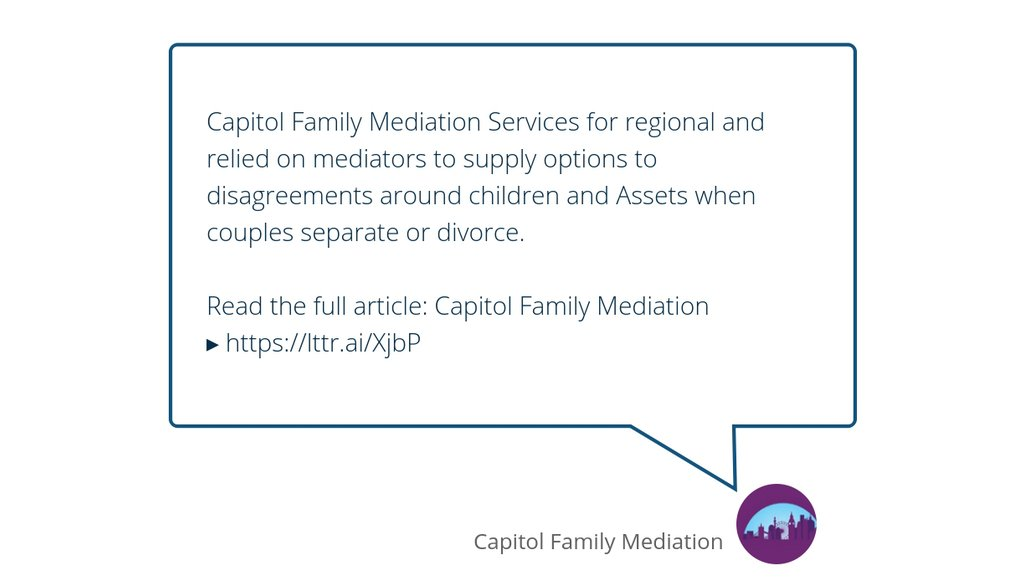 Capitol Family Mediation Services for regional and relied on mediators to supply options to disagreements around children and Assets when couples separate or divorce.  Read the full article: Capitol Family Mediation ▸ https://t.co/AHJ9NxKfTF  #FamilyMediationCosts https://t.co/qJKKHTOKwF