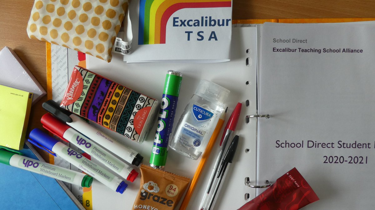 Our School Direct PGCE students begin their first placement today @StJohnsMarlb @jog_school  @MarlboroughCol @BradonForestSch  equipped with their starter kit of basic essentials! We know you're all going to be amazing teachers, so enjoy your first day! @bathspa_soe
