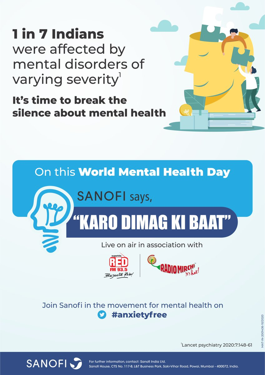 According to the Lancet Psychiatry 2017 Report, 1 in 7 Indians are affected by #MentalDisorders of varying severity.   For #WorldMentalHealthDay, we spoke on #MentalHealth and #Anxiety with @RedFMIn & @RadioMirchi.   Sanofi kehta hai, 'Karo Dimag ki Baat'   #anxietyfree https://t.co/gxwQhr89Cm