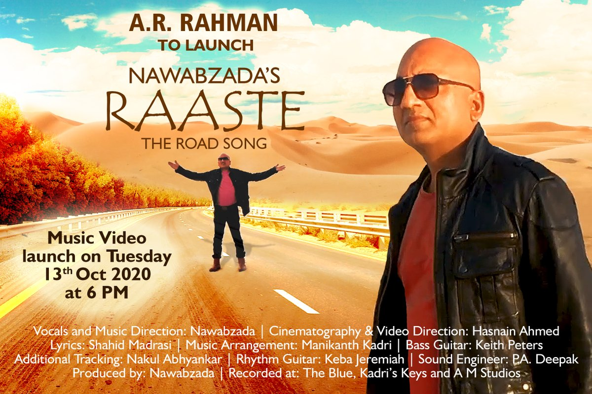 Replying to @arrahman: Dear Asif ji... Wishing you the very best for your song and the video.  @nawabzada_india #Raaste