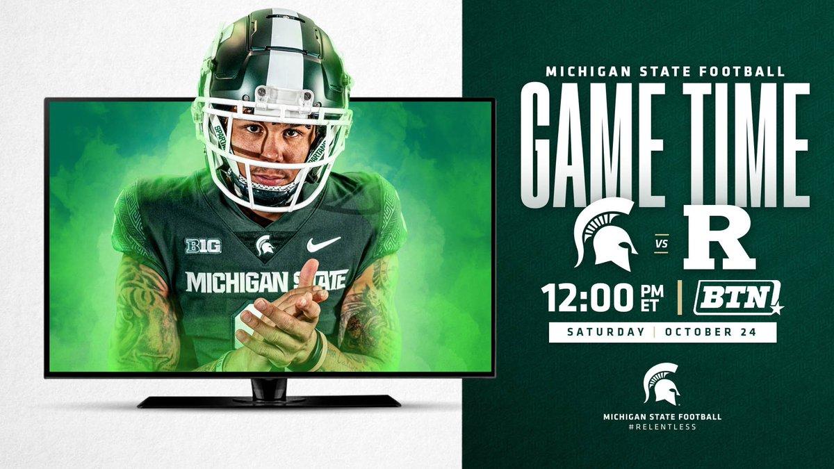 Spartan Football kicks off on October 24 at noon on @BigTenNetwork! #GoGreen