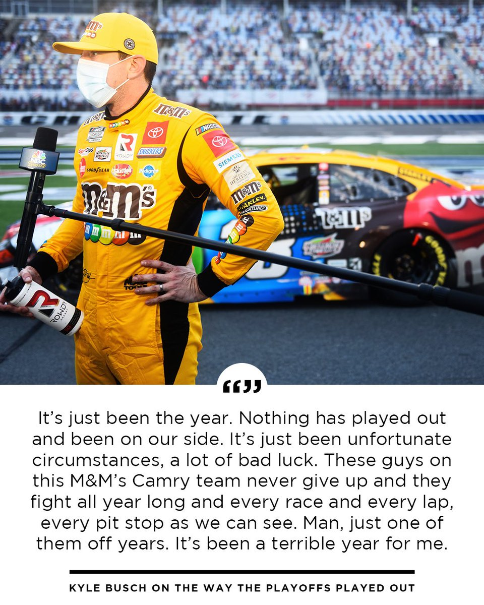 2020 hasn't been @KyleBusch's year. See what he had to say about being eliminated from the #NASCARPlayoffs.   @mmschocolate | #TeamToyota https://t.co/7Nz5qViqpS