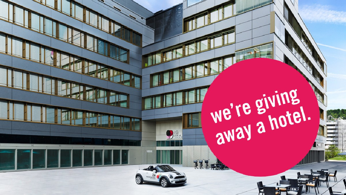 WE'RE GIVING AWAY A HOTEL! 🎉 No joke! We are celebrating the reopening of our hotel in Zurich by giving away the whole hotel for one night. The prize will go to the most creative application ▶️ https://t.co/u0utrqIfg7 #25hourshotels #zurich #socialdistancing https://t.co/5TZYPsgN7Z