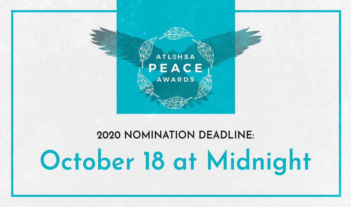 Its so important to uplift those that are making a difference in and outside of the indigenous community. If you know someone that deserves to be honoured for their leadership, social impact or otherwise, nominate them today at atlohsapeaceawards.com RT.