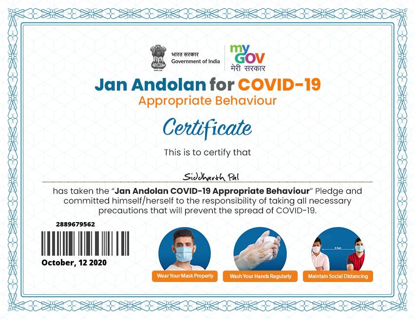 I have taken Jan Andolan for COVID-19 Appropriate Behaviour Pledge and committed myself to the responsibility of taking necessary precautions to prevent the spread of COVID-19. https://t.co/wdfS9MQzS6 https://t.co/I7rIsqV077 @mygovindia  @NPC_INDIA_GOV @FISME @FollowCII @DIPPGOI https://t.co/5X54xvKxfY