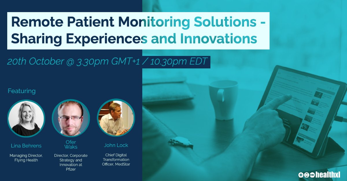 """Join us on Oct 20th where we will be discussing """" #RemotePatientMonitoring Solutions - Sharing Experiences and Innovations"""". Meet new people and gain insights at our #virtuallunch. Food is optional.  Register now https://t.co/nId7cybEFi #digitalhealth #healthxlcommunity https://t.co/cc1bDr8WXn"""