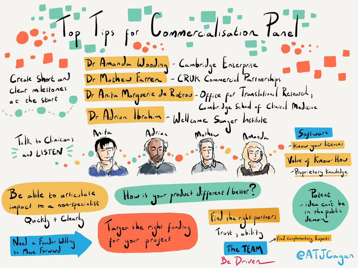 Top Tips for Commercialisation Panel - how to translate basic research into a viable company @UCamEnterprise @CRUKresearch  @OTR_Cambridge @sangerinstitute @illumina  #illuminaaccelerator https://t.co/lL3yAnnjf9