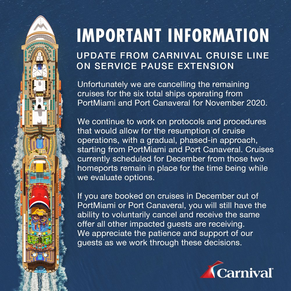 Important update regarding select sailings out of PortMiami and Port Canaveral for November 2020.