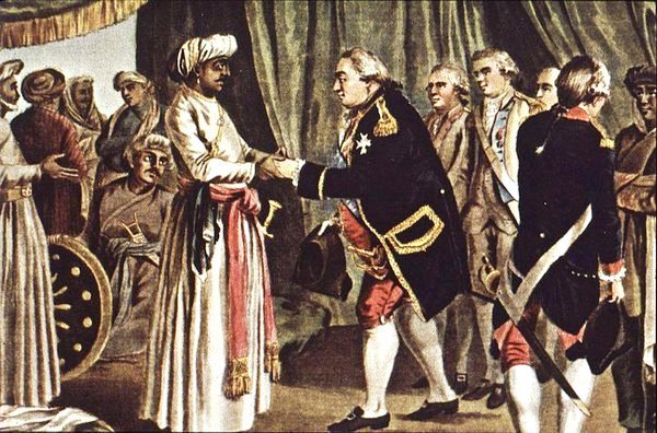 238 years old painting of Vice-Admiral of #French Navy Suffren meeting #Mysore ruler Hyder Ali in 1782 AD. https://t.co/2J51Mx5OwO