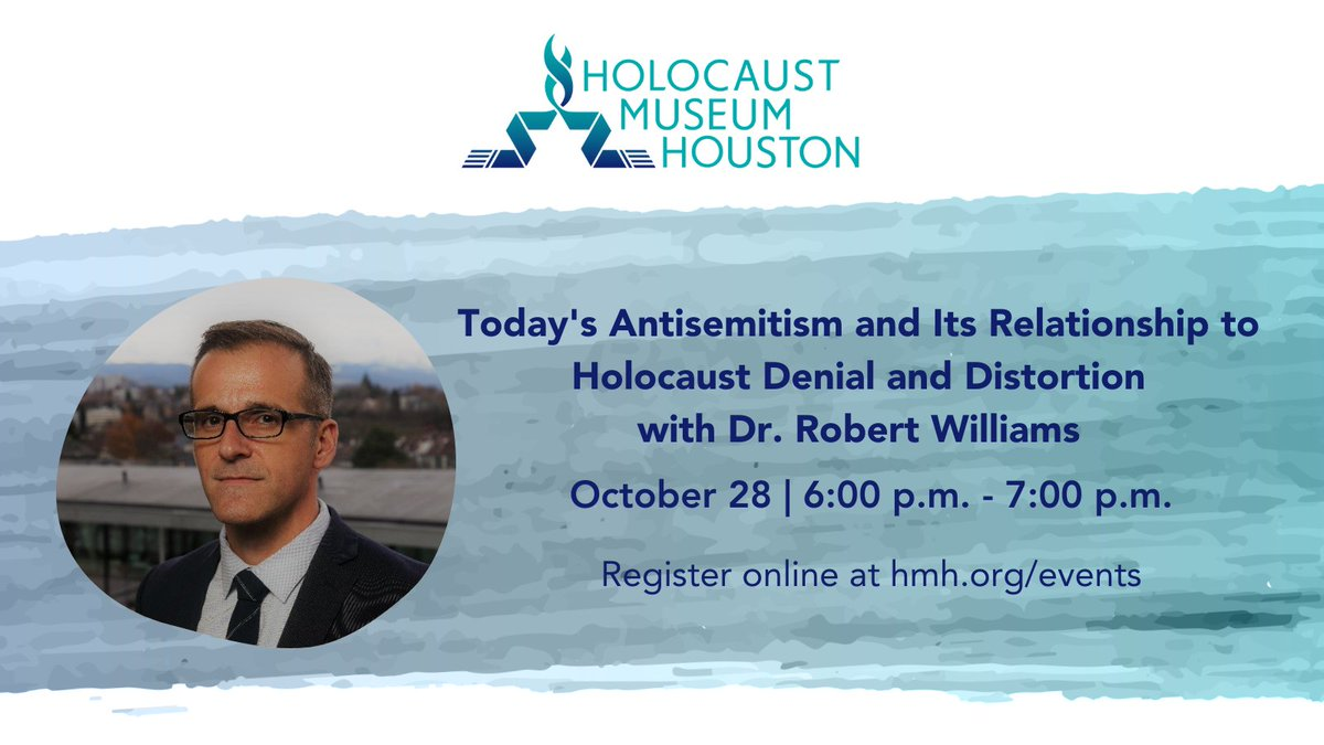 "#ICYMI  This Wednesday at 6PM, join @hmhou & @boniukcenter as they invite Dr. Robert Williams for his lecture ""Today's #Antisemitism and Its Relationship to #Holocaust #Denial and #Distortion"".  Register at https://t.co/RdE5Y8Ycq3  #Genocide #Education #IHRA https://t.co/9iv6eIFclH"