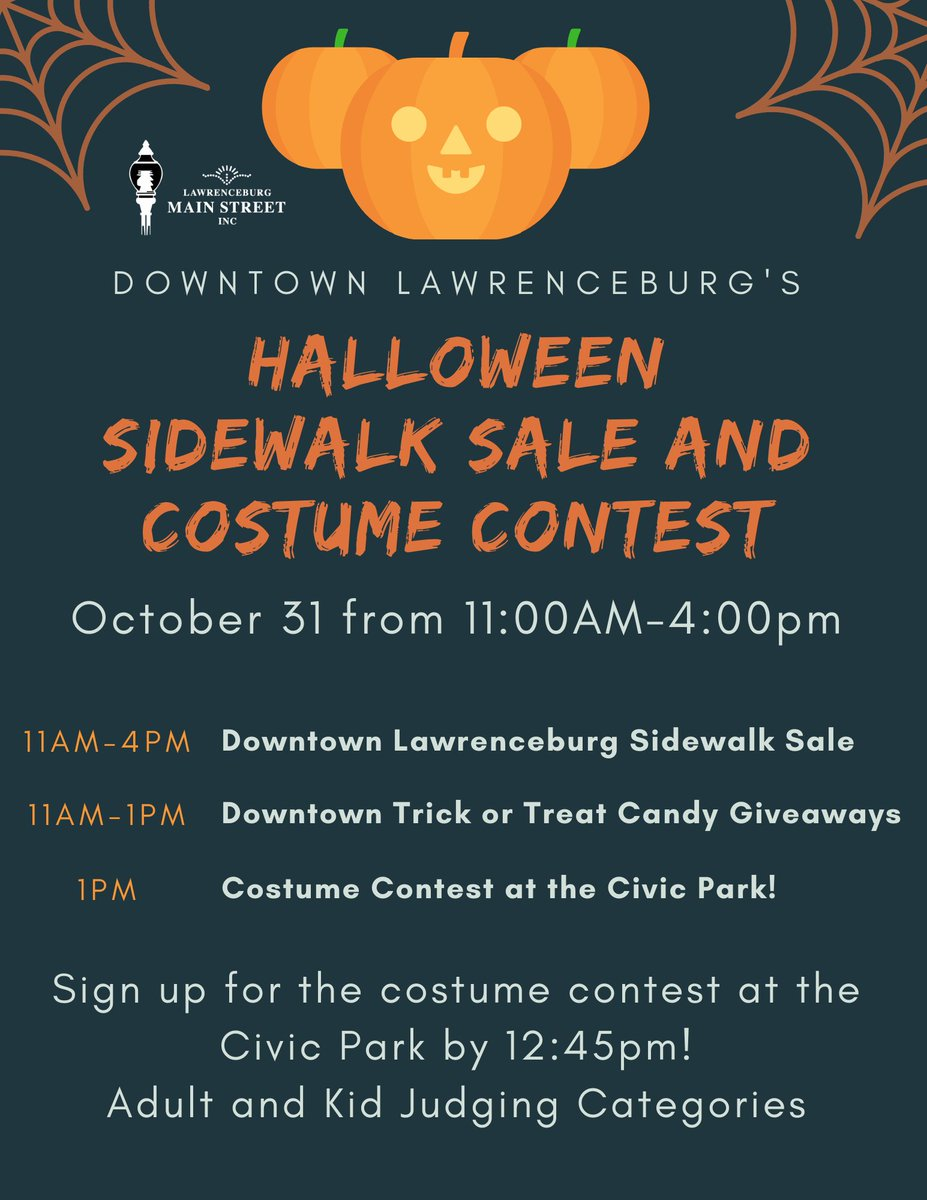 The Halloween Sidewalk Sale and Costume contest is fast approaching! Come to downtown Lawrenceburg October 31st to have a spooktacular time with sales, candy giveaways, and a community costume contest with great prizes! #sidewalksale #costumecontest #thinklawrenceburg #shopsmall https://t.co/1qIPZKzKZy