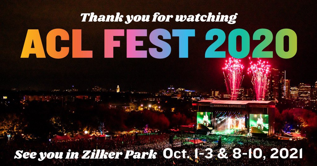 Thanks for watching ACL Fest 2020 this weekend! We're glad we could still come together and celebrate music with you this year - even if it was a little different. Long live the Live Music Capital of the World. ✨🎶  We'll see you next year: Oct. 1-3 & 8-10, 2021. 👀