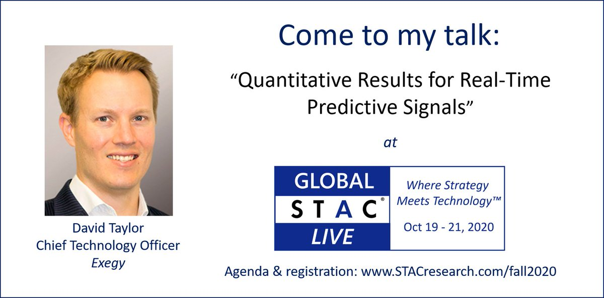 Participate in Global STAC Live 2020 and hear Exegy's David Taylor present as part of Global STAC's Innovation Roundup On October 20th . For Details Click https://t.co/6RccVB8D5i. Want more info on David, click here https://t.co/7Prb10o1aw #exegy #ai https://t.co/bKOgngiNgE