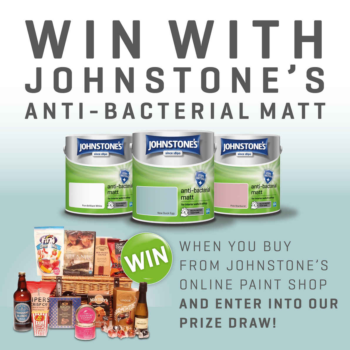Fancy winning a Night In hamper full of goodies for the whole family to enjoy? Head over to the Johnstones Paint Shop and simply purchase a tin of our Brand New Anti-bacterial Paint to enter! Click here to shop 👉 bit.ly/33REbuB T&Cs apply.
