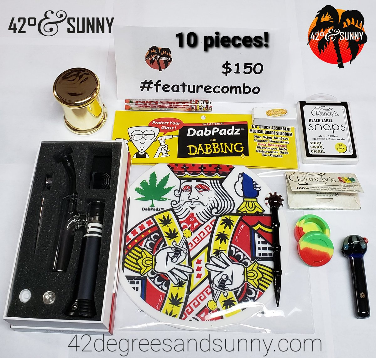 Today's #FeatureCombo is 10 pieces for only $150! This electric rig comes with multiple nails, and everything you need for dabbing on the go. #ElectricRig #Dabber #DabPadz #OilSlick #StashJar #ClearCyclones #RandysSnaps #RandysWiredPapers #HandPipe #FilterTips https://t.co/PDHep3FxfU