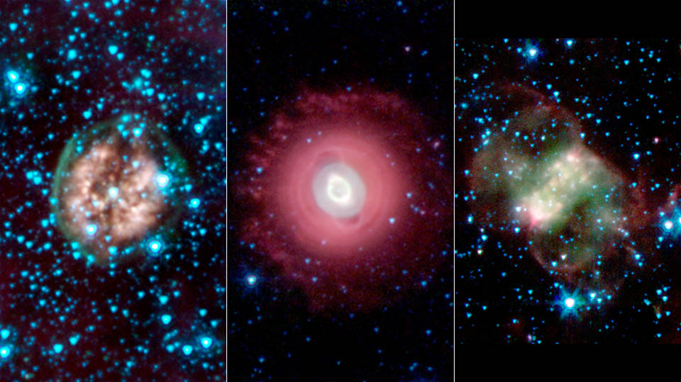 ☠️Last gasps of stars☠️ This trio of ghastly images shows the disembodied remains of dying stars called planetary nebulas. Planetary nebulas are a late stage in a Sun-like stars life, when outer layers have been shed and are lit by ultraviolet light from the central star.