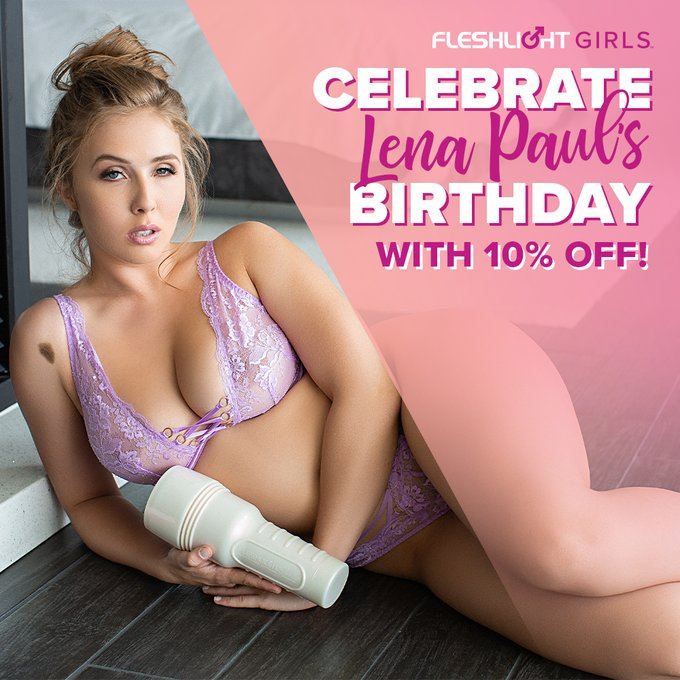 Happy birthday to Fleshlight Girl @lenaisapeach!🎉 Celebrate her ALL MONTH with 10% off her Fleshlight