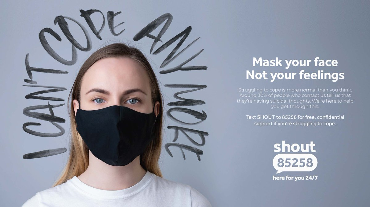 If you're struggling with the 'new normal', you're not alone. Nearly 30% of people who text us mention feelings of depression. This #WorldMentalHealthDay: Mask your face, not your feelings. @giveusashout https://t.co/qCDQzdaVTd