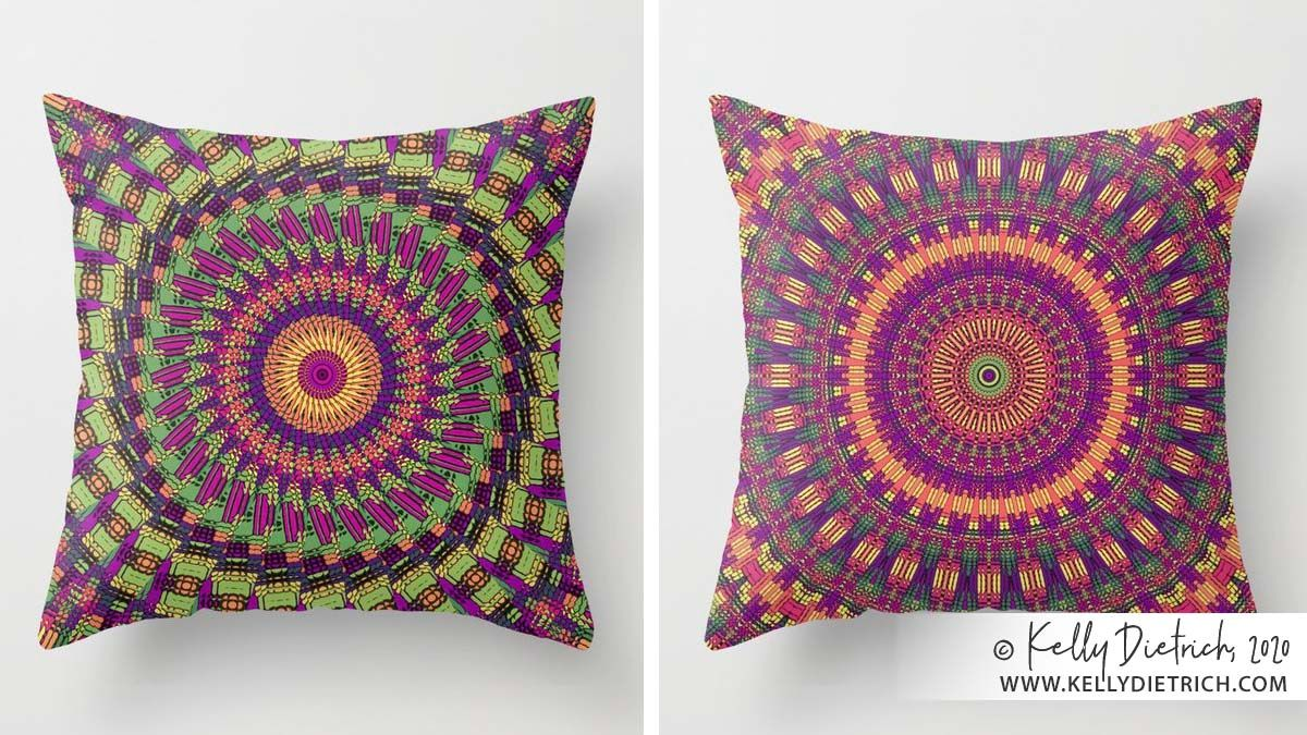 Two of my latest mandala designs, shown here on throw pillows — 30% off today in my Society6 shop » https://t.co/PlJ5I6KXG4   #mandalas #mandalaart #kaleidoscope #pillows #colorfulhome https://t.co/Lg65vY2Z4T